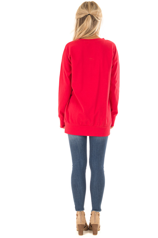Candy Red V Neck Sweatshirt with Criss Cross Detail back full body