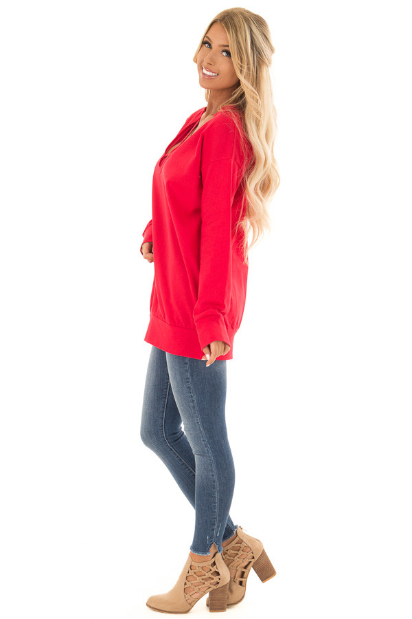 Candy Red V Neck Sweatshirt with Criss Cross Detail side full body