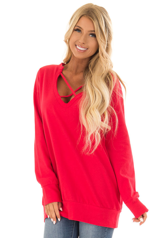 Candy Red V Neck Sweatshirt with Criss Cross Detail front close up