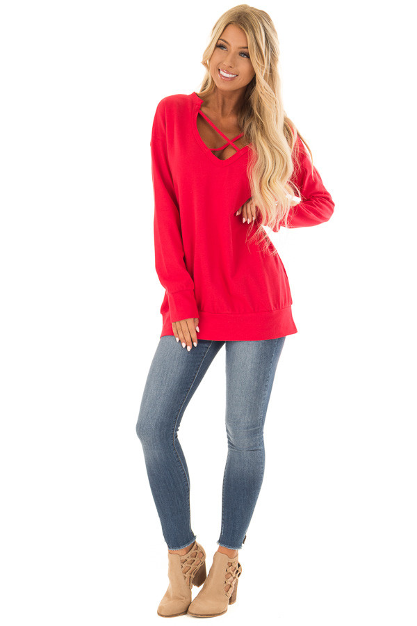Candy Red V Neck Sweatshirt with Criss Cross Detail front full body