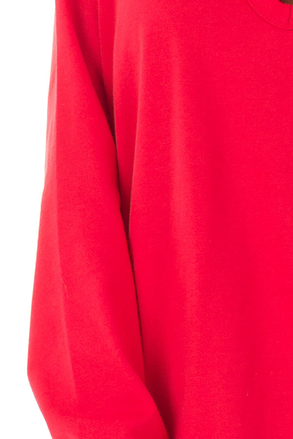 Candy Red V Neck Sweatshirt with Criss Cross Detail detail
