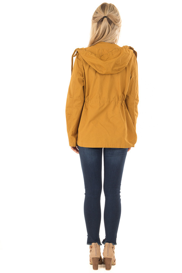 Mustard Hooded Cargo Jacket with Drawstring Waist back full body