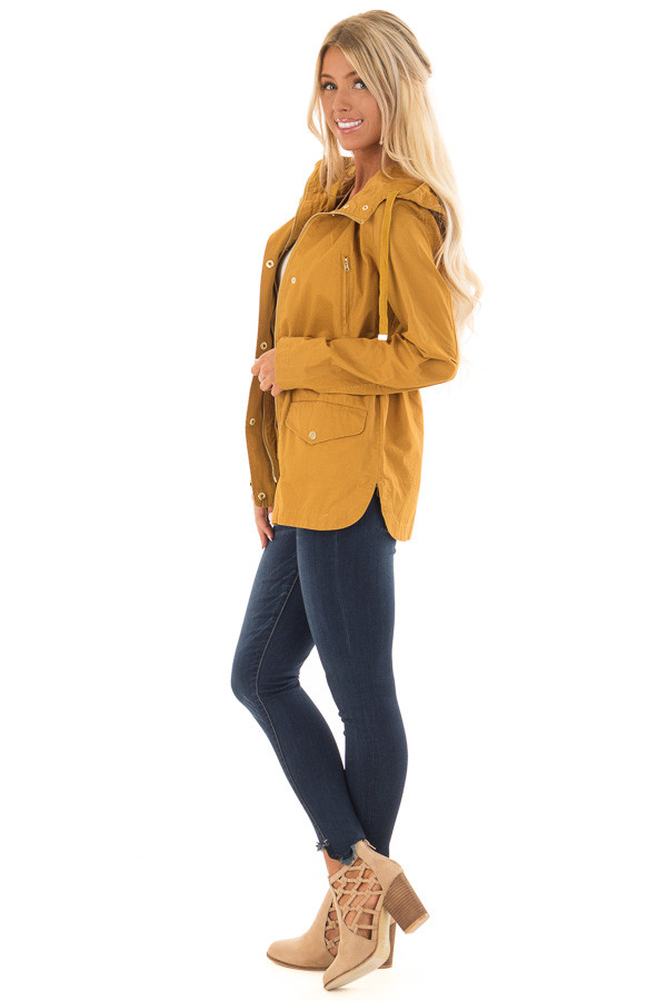 Mustard Hooded Cargo Jacket with Drawstring Waist side full body