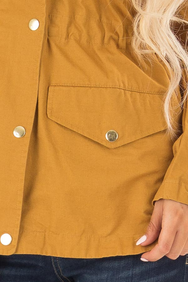 Mustard Hooded Cargo Jacket with Drawstring Waist detail