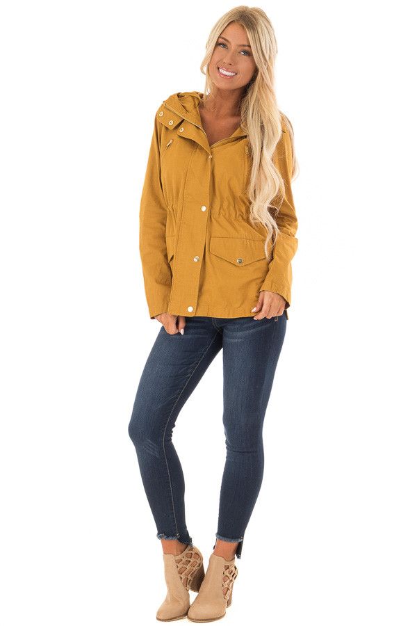 Mustard Hooded Cargo Jacket with Drawstring Waist front full body