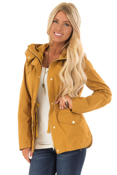 Mustard Hooded Cargo Jacket with Drawstring Waist front close up