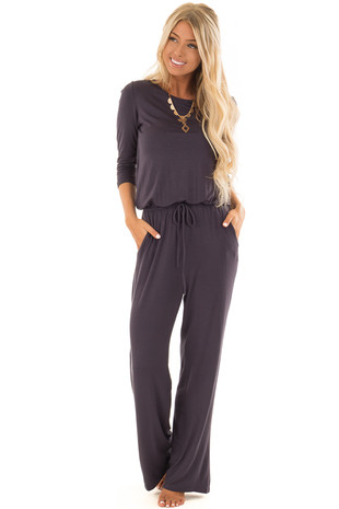 Slate 3/4 Sleeve Jumpsuit with Waist Tie and Keyhole Detail front full body