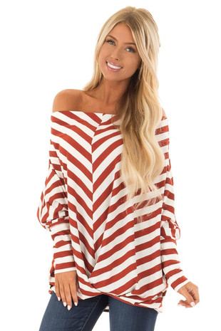 Rust and White Striped Ribbed Off the Shoulder Top front close up