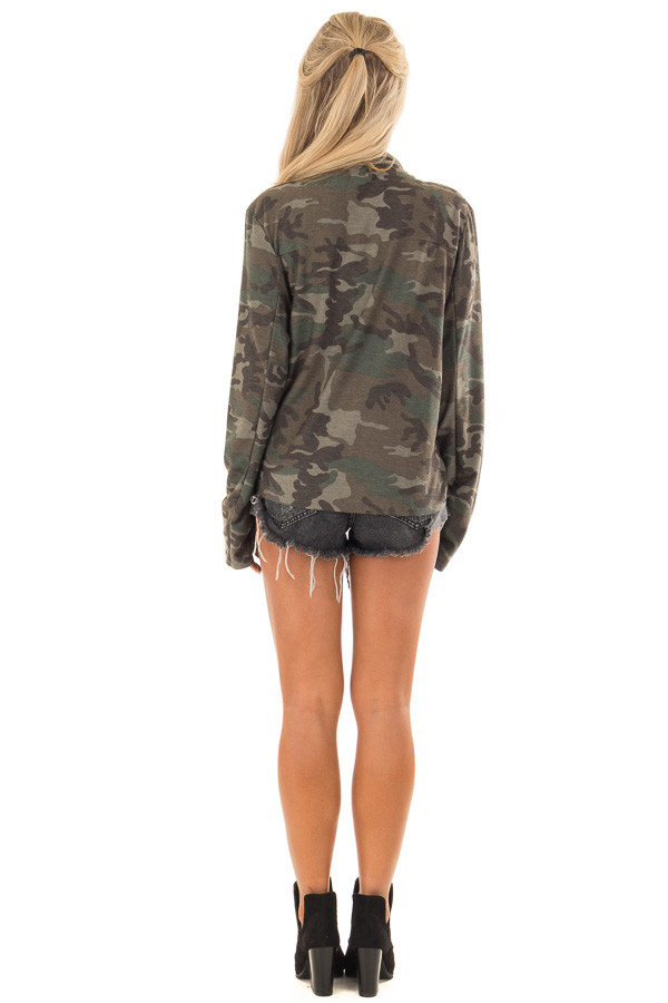 Camo Open Front Light Weight Jacket with Zip Up Pockets back full body