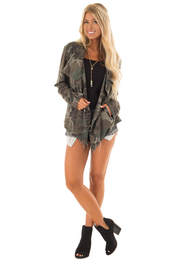 Camo Open Front Light Weight Jacket with Zip Up Pockets front full body