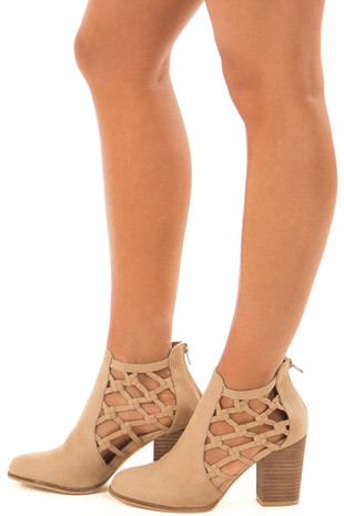 Taupe Faux Suede Heeled Bootie with Side Knotted Detail side view