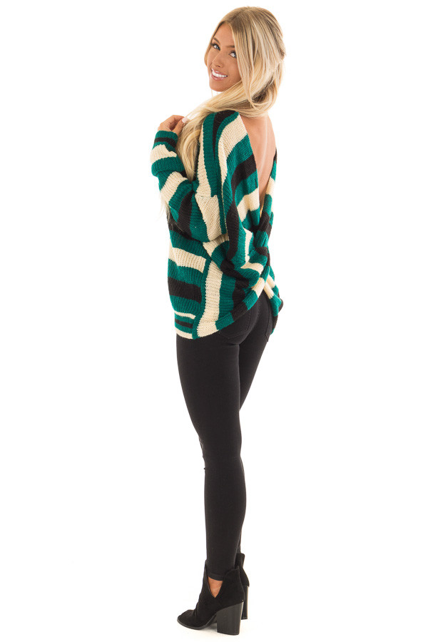 Emerald Black and Cream Striped Knit Sweater back side full body