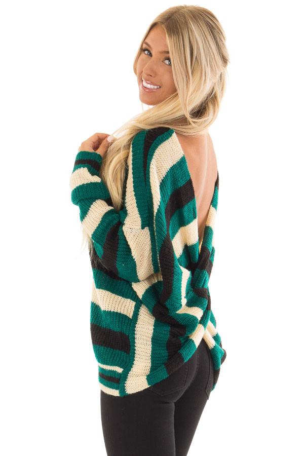 Emerald Black and Cream Striped Knit Sweater back side close up