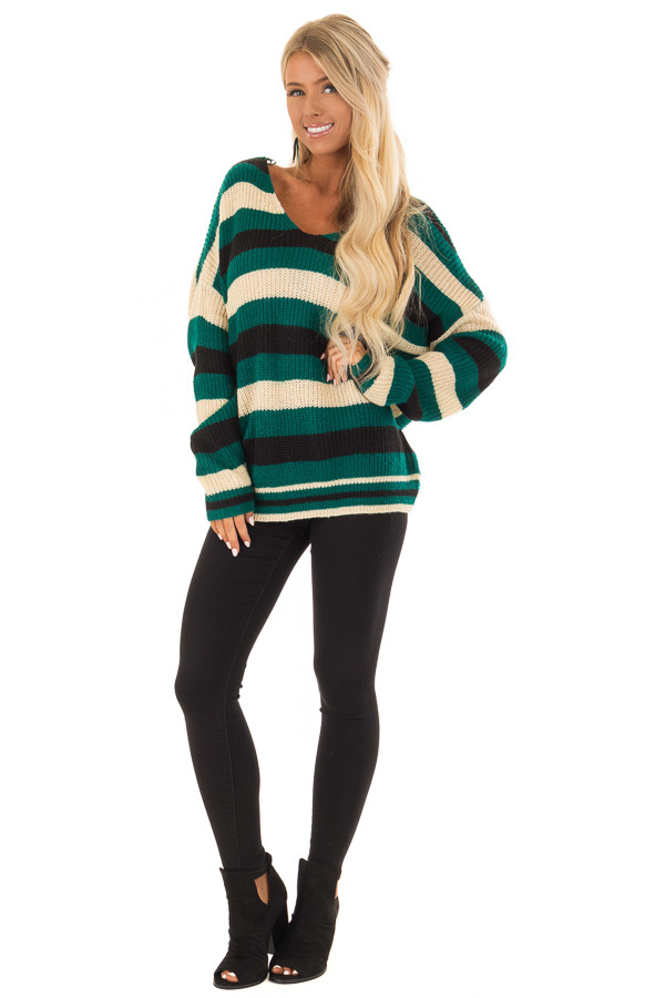 Emerald Black and Cream Striped Knit Sweater front full body