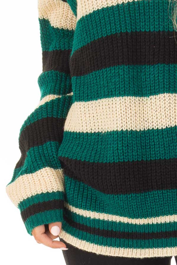 Emerald Black and Cream Striped Knit Sweater detail