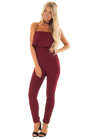 Wine Strapless Jumpsuit with Overlay Detail front full body