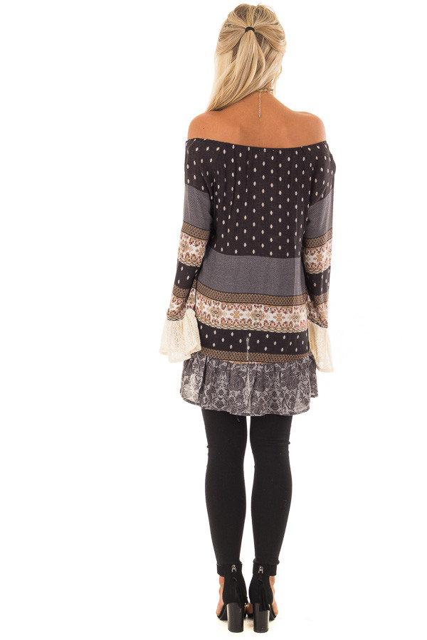 Dove Grey Off the Shoulder Peplum Top with Mixed Print back full body