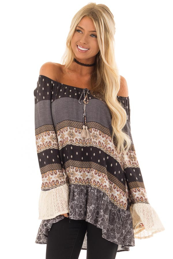Dove Grey Off the Shoulder Peplum Top with Mixed Print front close up