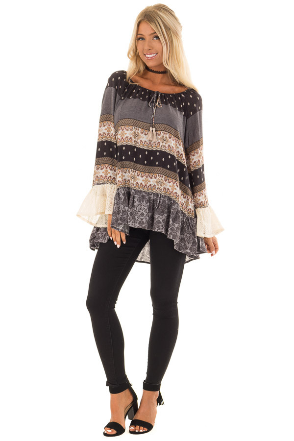 Dove Grey Off the Shoulder Peplum Top with Mixed Print front full body