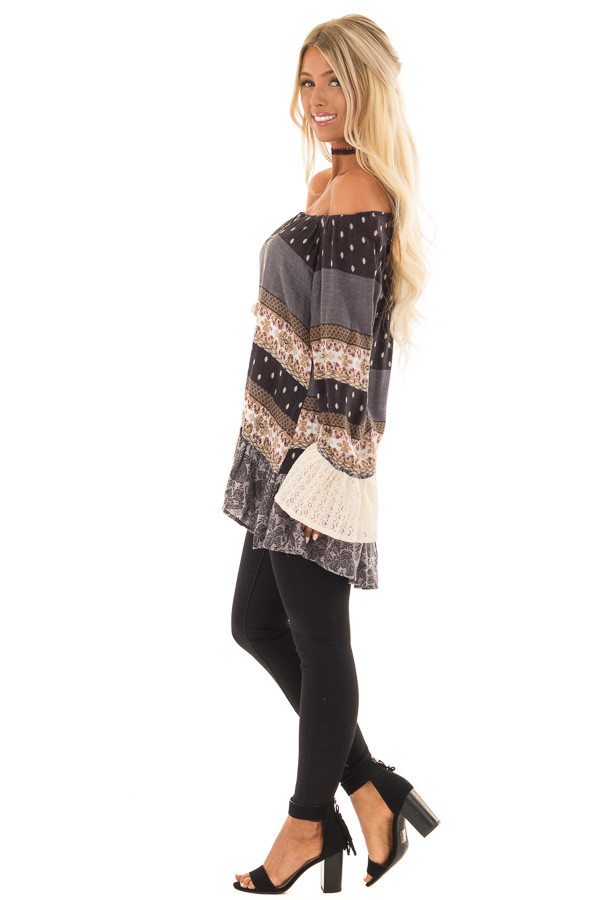 Dove Grey Off the Shoulder Peplum Top with Mixed Print side full body