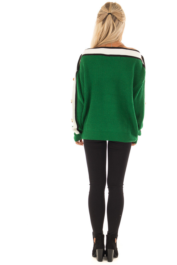Forest Green Knit Sweater with Button and Stripe Detail back full body