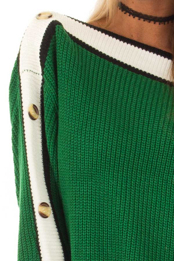 Forest Green Knit Sweater with Button and Stripe Detail detail