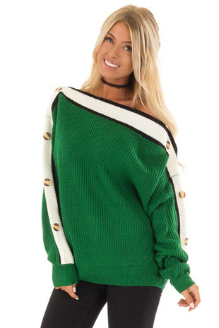 Forest Green Knit Sweater with Button and Stripe Detail front close up