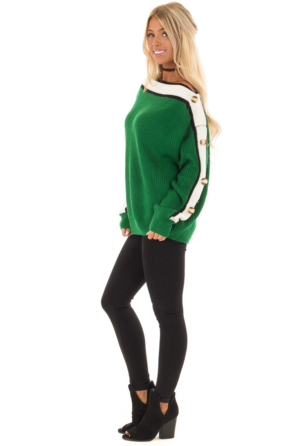 Forest Green Knit Sweater with Button and Stripe Detail side full body