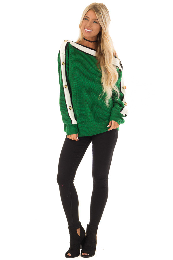Forest Green Knit Sweater with Button and Stripe Detail front full body