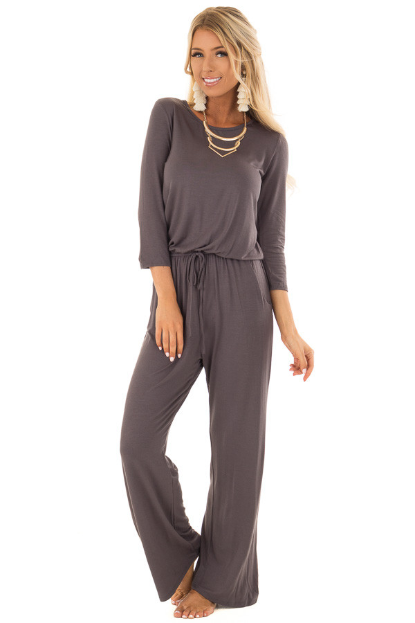 Gun Metal Grey 3/4 Sleeve Jumpsuit with Keyhole Detail front full body