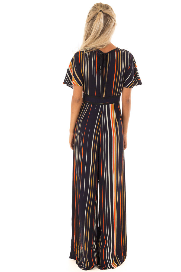 Navy Multi Color Striped Jumpsuit with Back Keyhole back full body