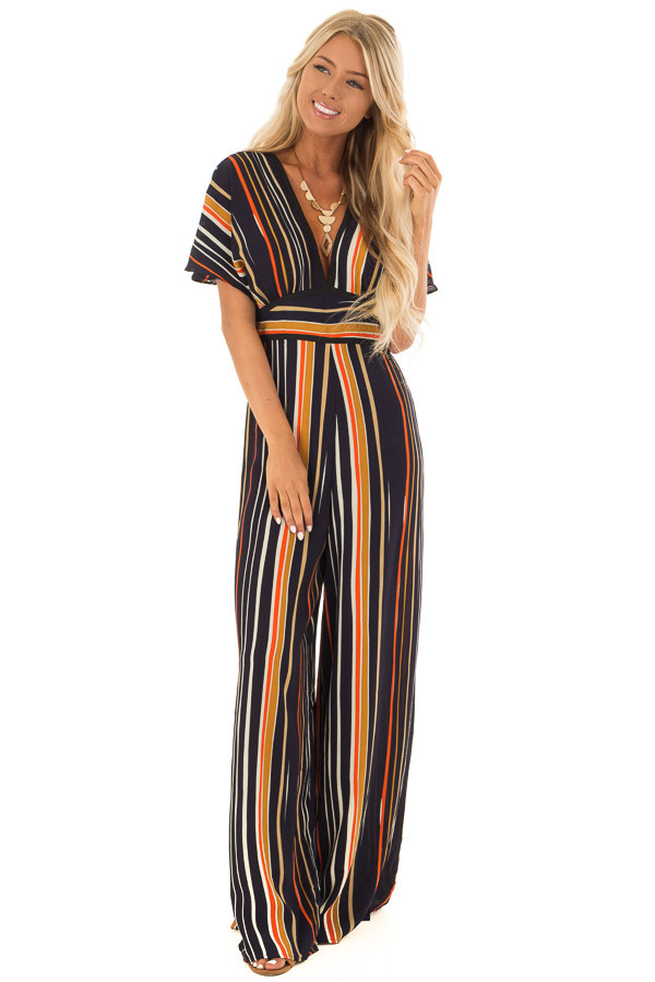Navy Multi Color Striped Jumpsuit with Back Keyhole front full body