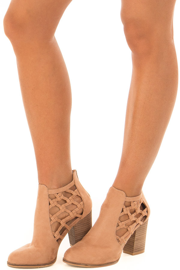 Camel Faux Suede Heeled Bootie with Side Knotted Detail front side view