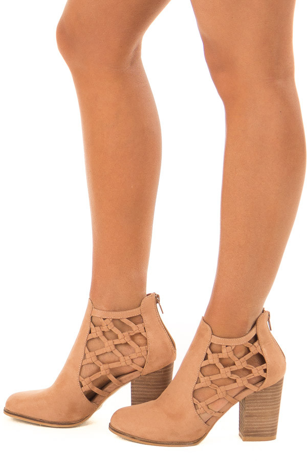 Camel Faux Suede Heeled Bootie with Side Knotted Detail side view
