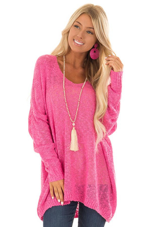 Flamingo Pink Loose Knit Oversize Comfy Sweater front close up