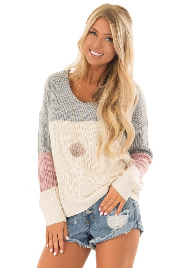 Grey and Mauve Striped Twisted Open Back Sweater front close up