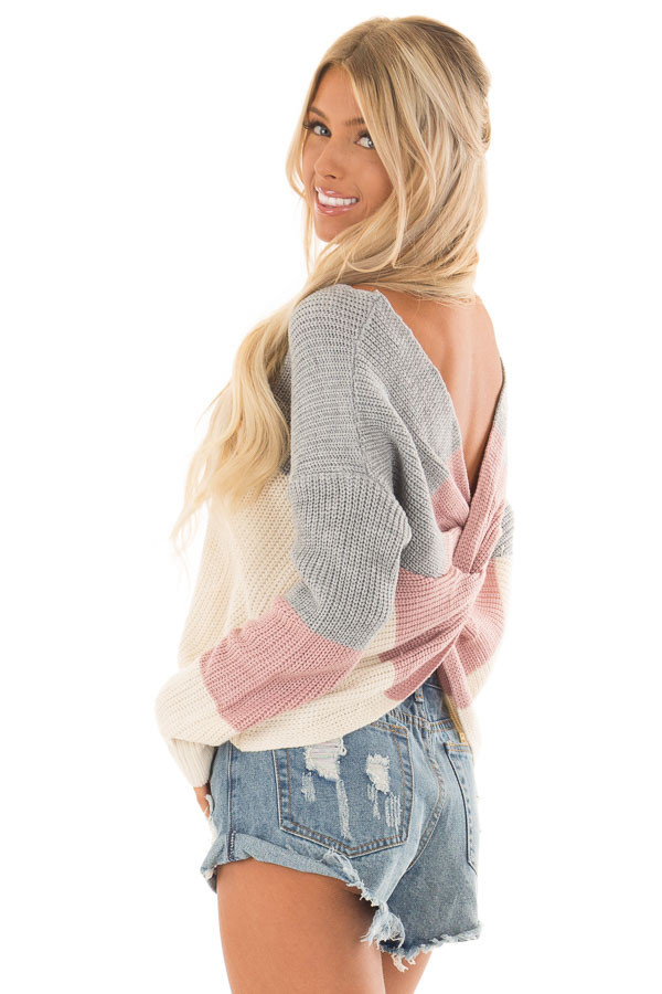 Grey and Mauve Striped Twisted Open Back Sweater back side close up