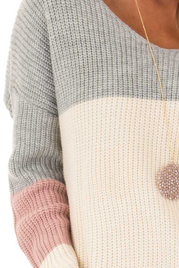 Grey and Mauve Striped Twisted Open Back Sweater detail