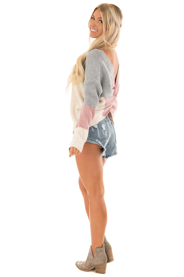Grey and Mauve Striped Twisted Open Back Sweater side full body