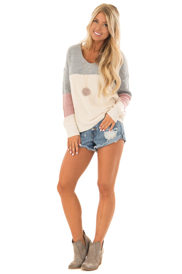 Grey and Mauve Striped Twisted Open Back Sweater front full body