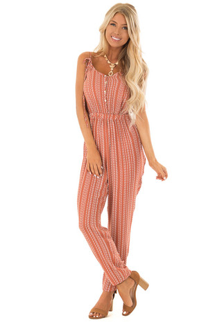 Rust Stripe Spaghetti Strap Jumpsuit with Strap Tie Detail front full body