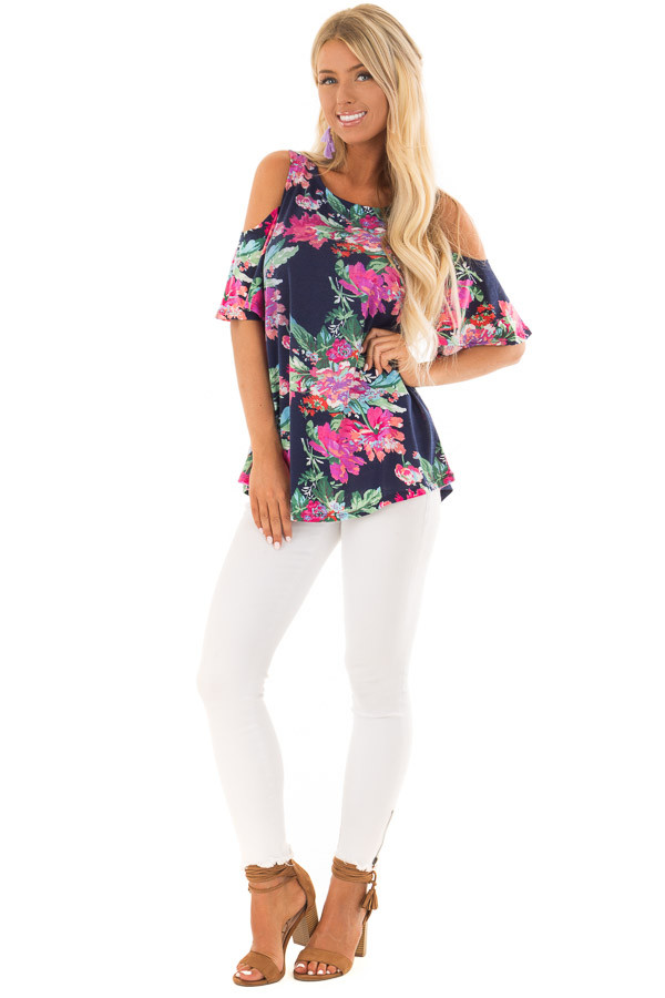 Navy and Bright Floral Print Cold Shoulder Tunic front full body