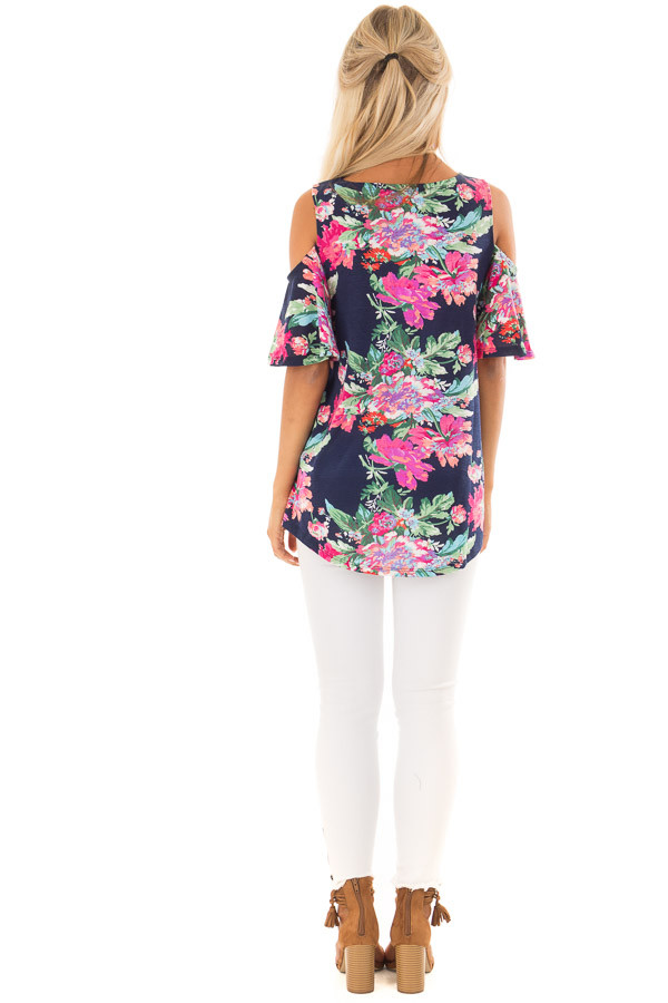 Navy and Bright Floral Print Cold Shoulder Tunic back full body
