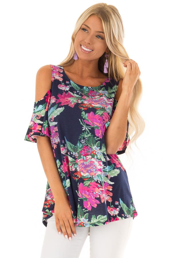 Navy and Bright Floral Print Cold Shoulder Tunic front close up