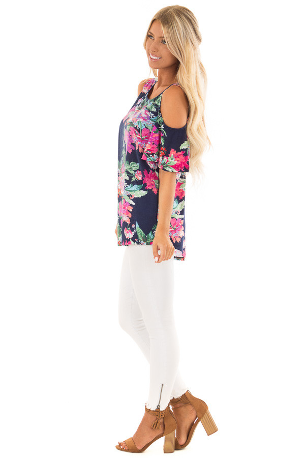 Navy and Bright Floral Print Cold Shoulder Tunic side full body