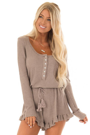 Mocha Drawstring Waist Comfy Waffle Knit Romper front close up