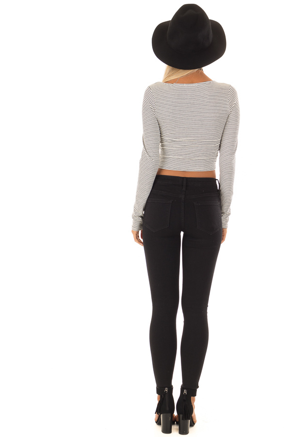 Ivory and Black Striped Crop Top with Long Sleeves back full body