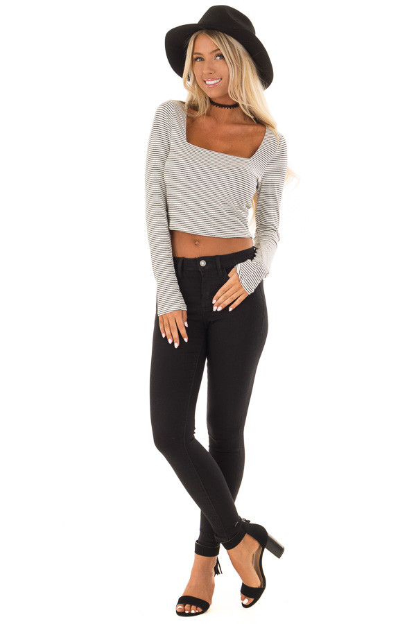 Ivory and Black Striped Crop Top with Long Sleeves front full body