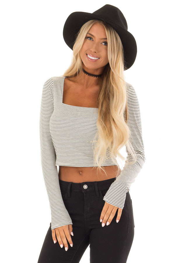 Ivory and Black Striped Crop Top with Long Sleeves front close up