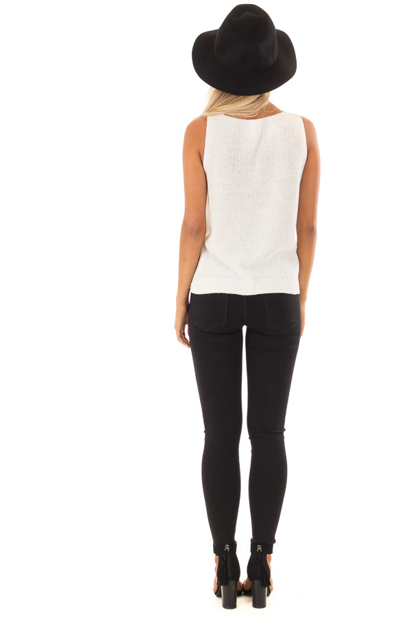 Ivory Textured Knit Tank Top with Front Twist Detail back full body